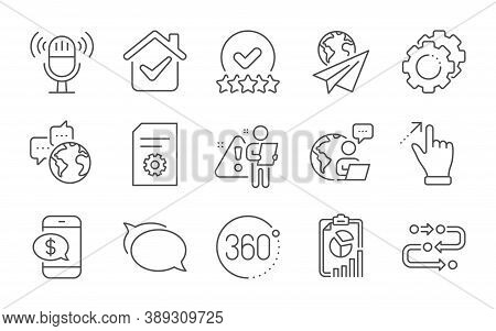 Settings Gears, Phone Payment And Paper Plane Line Icons Set. Report, Talk Bubble And Touchscreen Ge