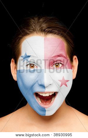portrait of girl with panamanian flag painted on her face