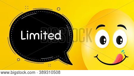 Limited Symbol. Easter Egg With Yummy Smile Face. Special Offer Sign. Sale. Easter Smile Character.