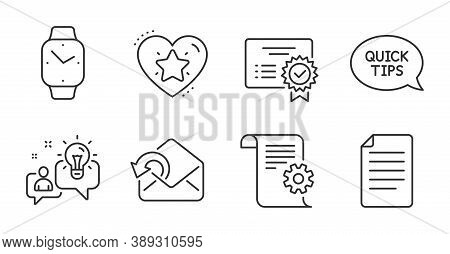 Smartwatch, File And Ranking Star Line Icons Set. Certificate, Quickstart Guide And Technical Docume
