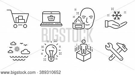 Face Cream, Idea And Online Shopping Line Icons Set. Augmented Reality, Spanner Tool And Internet Sh