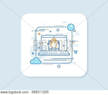 Vote Hands Line Icon. Abstract Vector Button. Election Voting Sign. Volunteers Or Referendum Symbol.