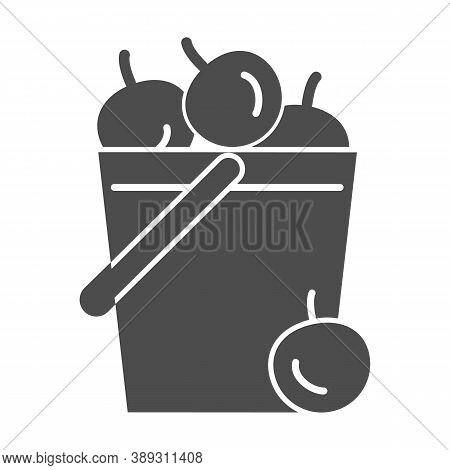 Bucket Of Apples Solid Icon, Garden And Gardening Concept, Harvest Sign On White Background, Garden