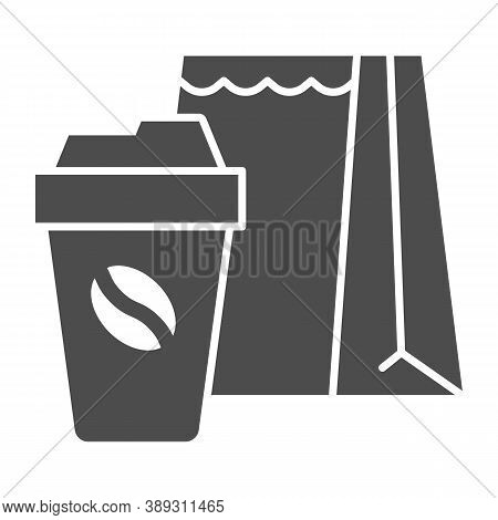 Cup Of Coffee And Package Solid Icon, Coffee Time Concept, Take Away Food Package Sign On White Back