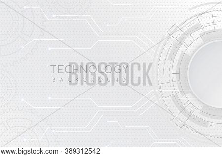 White Technology Background With Various Technological Elements. The Concept Of Innovative High-tech