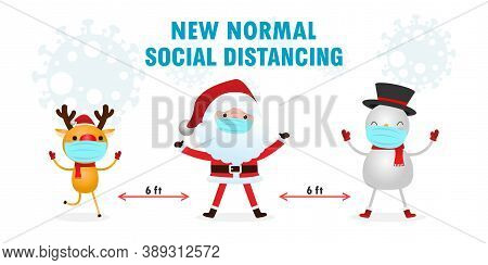 Merry Christmas For New Normal Lifestyle Concept And Social Distancing, Christmas Cartoon Character.