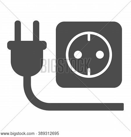 Plug And Socket Solid Icon, Technology Concept, Electricity Sign On White Background, Electric Plug