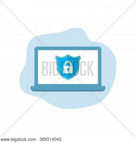 Computer Security. Vpn Security Protection. Antivirus Icon. Shield With Padlock Icon On Laptop Scree