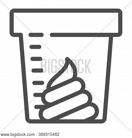 Stool Sample For Analysis Line Icon, Medical Tests Concept, Fecal Analysis Sign On White Background,