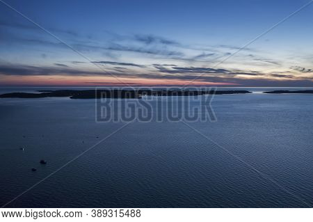 An Aerial Shot Of National Park Brijuni At Dusk, Istria, Croatia
