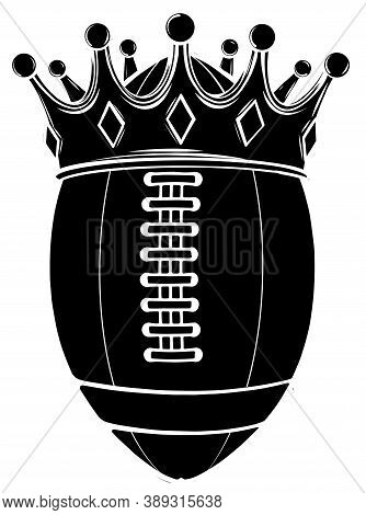 Black Silhouette Ball With Crown Design, American Football Super Bowl Sport Hobby Competition Game T