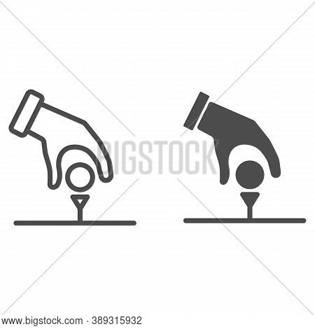 Golfer Hand Put Ball On Tee Line And Solid Icon, Golf Concept, Hand With Ball Sign On White Backgrou