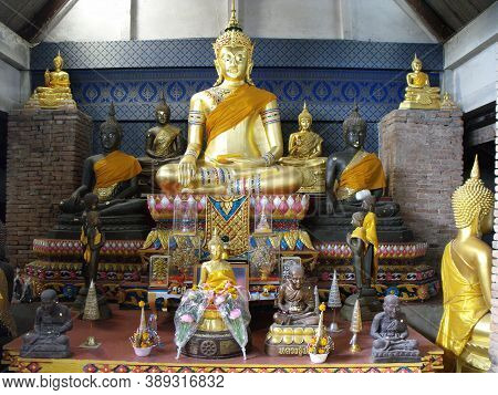 Ayutthaya, Thailand, January 24, 2013: Different Sculptures Of Buddha In One Of The Temples Of Ayutt