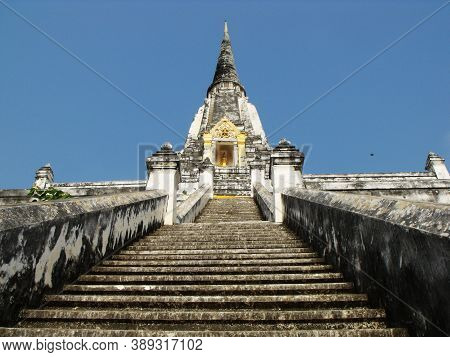 Ayutthaya, Thailand, January 24, 2013: Stairs Of A Stupa In Ayutthaya, Former Capital Of The Kingdom