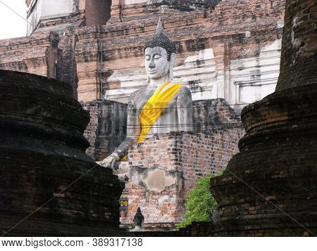 Ayutthaya, Thailand, January 24, 2013: Big Stone Sculpture Of Buddha In Ayutthaya, Former Capital Of