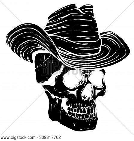 Black Silhouette Spooky Cowboy Skull Character With Classic Felt Hat In Cartoon Style
