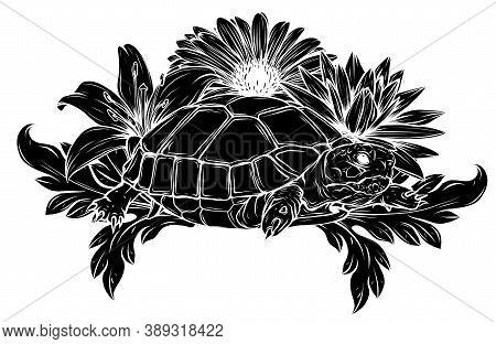 Black Silhouette Land Turtle In The Jungle Vector Illustration