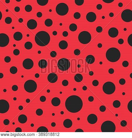 Pattern Seamless With Ladybug. Red Background With Black Polkadot For Lady. Texture For Modern Fashi
