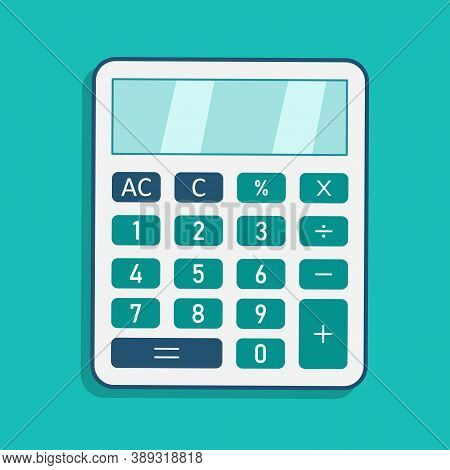 Calculator Icon. Calculate Finance With Modern Calculator With Display And Buttons. Accounting And E
