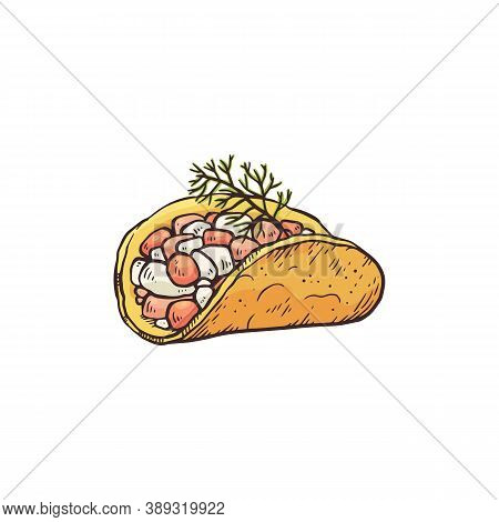 Small Appetizer From Tortilla Or Nachos, Sketch Vector Illustration Isolated.