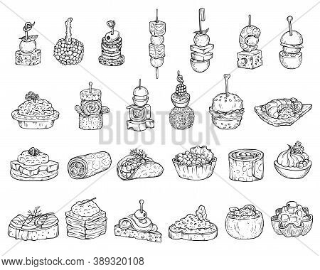 Set Of Appetizers Or Canape In Line Style, Cartoon Vector Illustration Isolated.