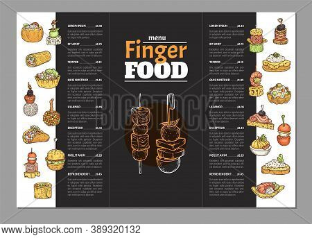 Finger Food Menu For Catering Service Or Party Buffet, Vector Illustration.