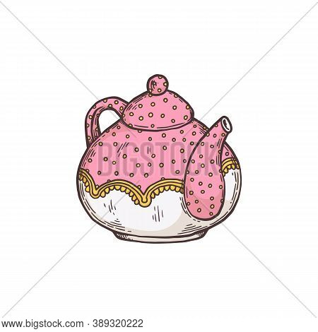 Hand Drawn Vintage Teapot Crockery, Sketch Vector Illustration Isolated.