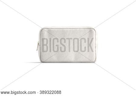 Blank Canvas Cosmetic Bag Mock Up, Front View, 3d Rendering. Empty Cotton Storage Cosmetician For Fe