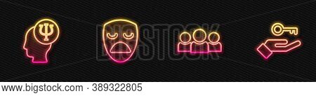 Set Line Users Group, Psychology, Psi, Drama Theatrical Mask And Solution To Problem. Glowing Neon I