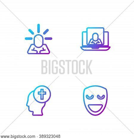 Set Line Comedy Theatrical Mask, Man Graves Funeral Sorrow, Depression And Psychologist Online. Grad