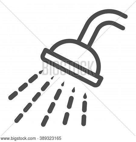 Shower Line Icon, Gym Concept, Douche With Water Drops Sign On White Background, Shower Spray Icon I