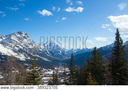 Dolomites Dolomiti Italy In Wintertime Beautiful Alps Winter Mountains Landscape , View From Toffana