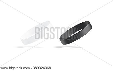Blank Black And White Silicone Wristband Mockup Set, No Gravity, 3d Rendering. Empty Social Care Or