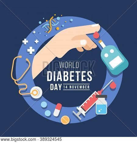 World Diabetes Day With Medical Devices And Drugs Related To Diabetes Around Blue Ring Circle Sign V