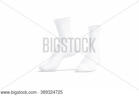 Blank White Long Socks Mockup Pair On Tiptoe, Side View, 3d Rendering. Empty Sporty Cotton Quarter K