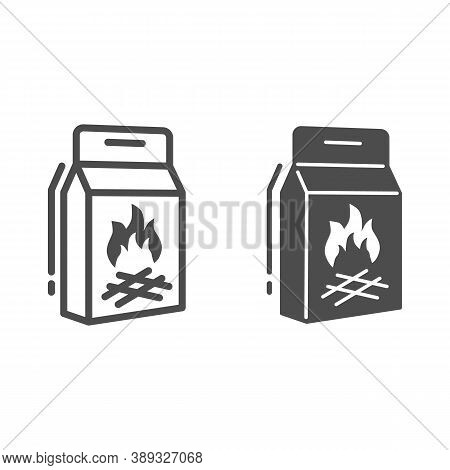Coal Briquettes Line And Solid Icon, Picnic Concept, Charcoal Paper Bag Sign On White Background, Ch