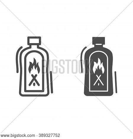 Liquid For Kindling Fire Line And Solid Icon, Picnic Concept, Fire Firing Fluid Sign On White Backgr