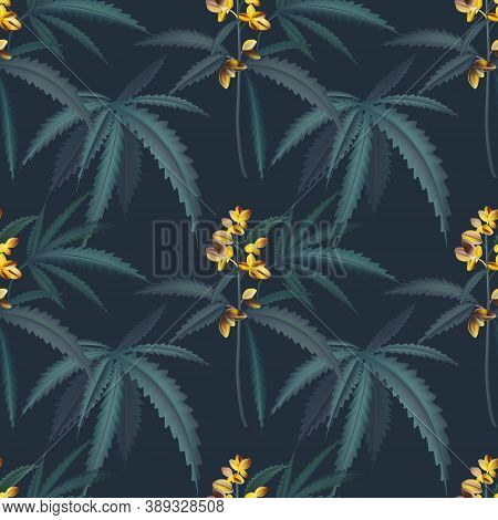 Hemp Foliage Vintage Pattern, Trpical Jungle Texture Wallpaper, Room, And Interior Design, Seamless