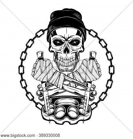 Skull Fighter In A Top Knitted Hat With Switchblades And Brass Knuckles. Youth Underground Culture.