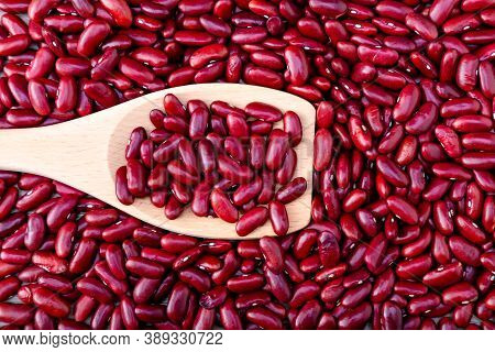 Red Beans Background. Red Beans Seeds. Adzuki Bean Background. Pile Of Red Bean Shot From Above.