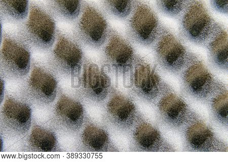 Texture Of Acoustic Treatment Made Of Foam Rubber. Background Of Studio Sound Acoustical Foam