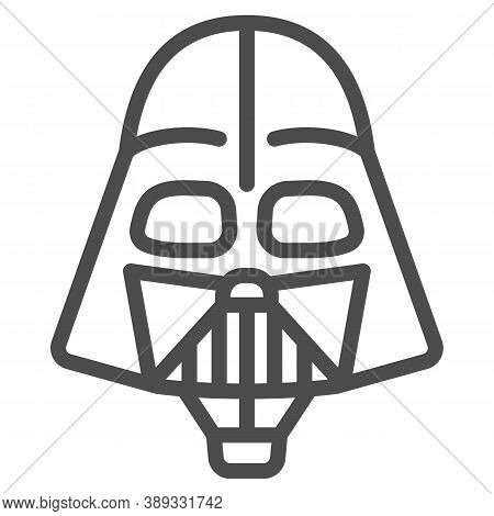 Head Of Darth Vader Air Balloon With Basket Line Icon, Balloons Festival Concept, Kids Air Travel Si
