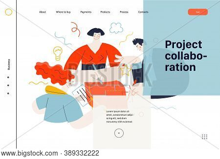 Business Topics - Project Collaboration, Web Template. Flat Style Modern Outlined Vector Concept Ill