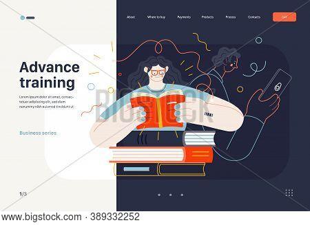Business Topics - Advance Training, Education, Skill Development, Web Template. Flat Style Modern Ou