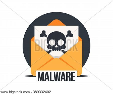 Email With Malware, Vector Icon. Virus, Malware, Email Fraud, E-mail Spam, Phishing Scam, Hacker Att