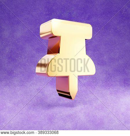 Thumbtack Icon. Gold Glossy Thumbtack Symbol Isolated On Violet Velvet Background. Modern Icon For W