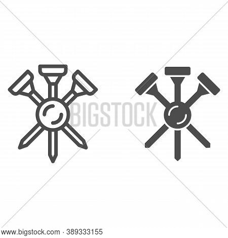 Golf Tees Line And Solid Icon, Equipment And Sport Concept, Golf Crossed Tee Sign On White Backgroun
