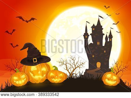 Pumpkins In Witch's Hat On Orange Background With Dark Castle And Moon. Holiday Card With Jack O Lan