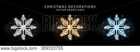 Set Of Glitter Snowflake. Golden, Silver And Blue Glittering Christmas Decoration. Bright Glitter Co