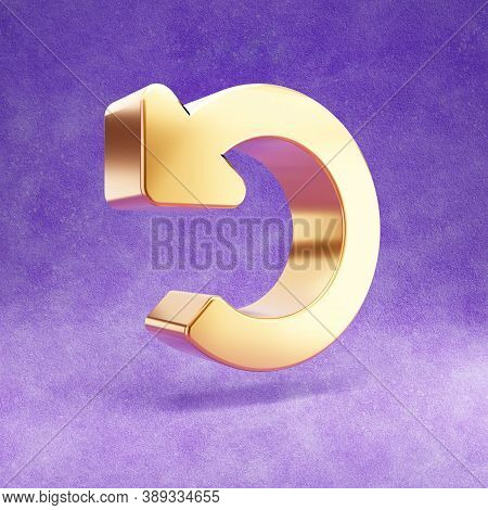 Undo Icon. Gold Glossy Undo Symbol Isolated On Violet Velvet Background. Modern Icon For Website, So